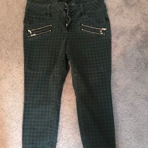 Torrid dark green plaid jeans with zipper detail